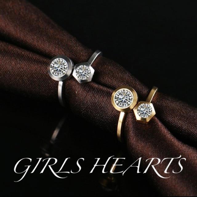 送料無料17号クロムシルバースーパーCZダイヤデザイナーズジュエリーリング指輪 レディースのアクセサリー(リング(指輪))の商品写真