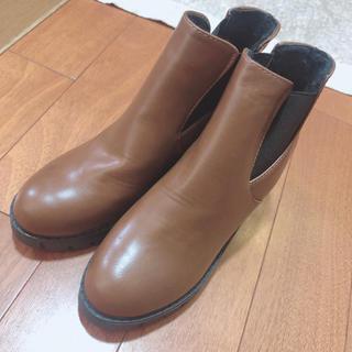 ブラウン ハイカット フェイクレザー サイドボア ブーツ 24-24.5cm(ブーツ)