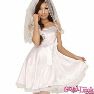 ハロウィン 白ウェディングドレス コスプレ(衣装一式)