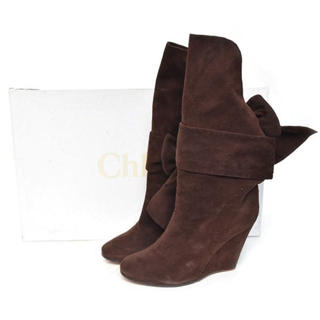 Chloe(クロエ)のクロエ リボン スウェード ウェッジソール ロングブーツ 38(約25cm) レディースの靴/シューズ(ブーツ)の商品写真