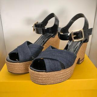 フェンディ(FENDI)のFENDI フェンディ デニム ヒール サンダル 靴 正規品(ハイヒール/パンプス)