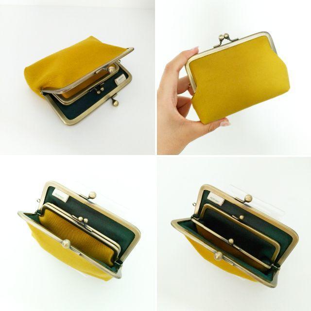 ゆったりサイズ☆親子がま口のお財布(ベイクドオリーブ)ATS ハンドメイドのファッション小物(財布)の商品写真