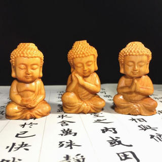 可愛い 唐木 釋迦摩尼仏  枕本尊 仏具 仏像 置物 オブジェ 3個セット