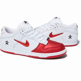 27.5cm Supreme / Nike SB Dunk Low 红/シルバー(スニーカー)