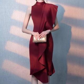 レッド ワンピースドレス パーティー ワンショルダー フリルライン 小さいサイズ(その他ドレス)