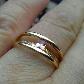パパラチアサファイア リング K18PG 14号 お値下げ(リング(指輪))