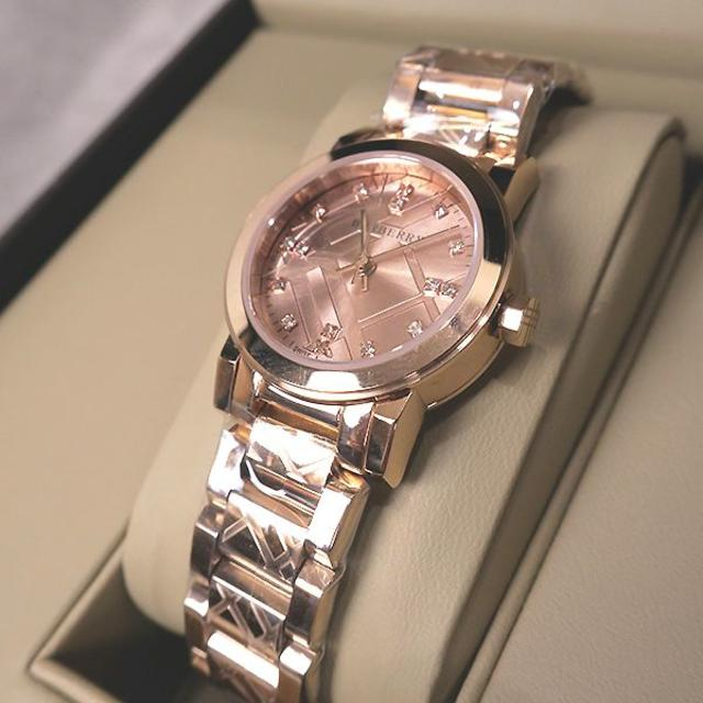 BURBERRY - 未使用 バーバリー チェック模様&ストーン入り 腕時計 ローズゴールドの通販 by ShinMaki's shop|バーバリーならラクマ