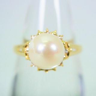 K18 天然アコヤ本真珠(パール) ダイヤリング 14.5号[f49-10](リング(指輪))