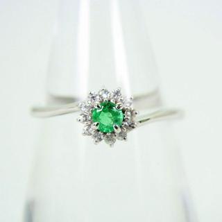K10WG エメラルド ダイヤモンド リング 11号 [f49-18](リング(指輪))