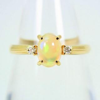K18 オパール ダイヤモンド リング 11号[f49-21] (リング(指輪))