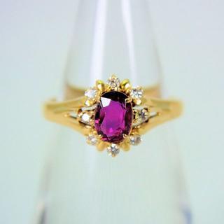 K18 ルビー ダイヤモンド リング 6号[f49-23](リング(指輪))