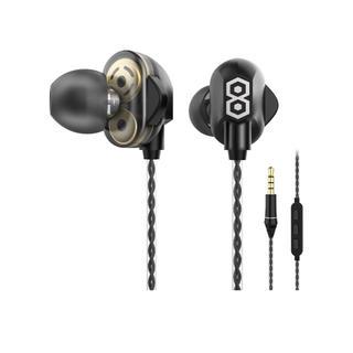 イヤホン デュアルドライバー構造 高音質 重低音 有線 カナル型 マイク付き (ヘッドフォン/イヤフォン)