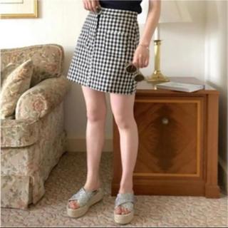 ワンアフターアナザーナイスクラップ(one after another NICE CLAUP)のdouble pocket gingham skirt タイトスカート チェック(ミニスカート)