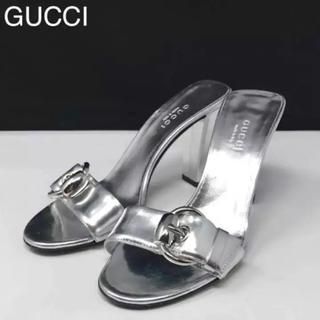グッチ(Gucci)のグッチ シルバー メタリック サンダル美品!サイズ 34 1/2C(21.5㎝(サンダル)