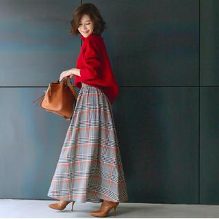 チェスティ(Chesty)のobli♡ラインチェックスカート♡オレンジ♡Sサイズ(ロングスカート)
