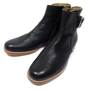 サヤ(SAYA)の新品 SAYA サヤ サイドジップ レザーショートブーツ 24,5(ブーツ)