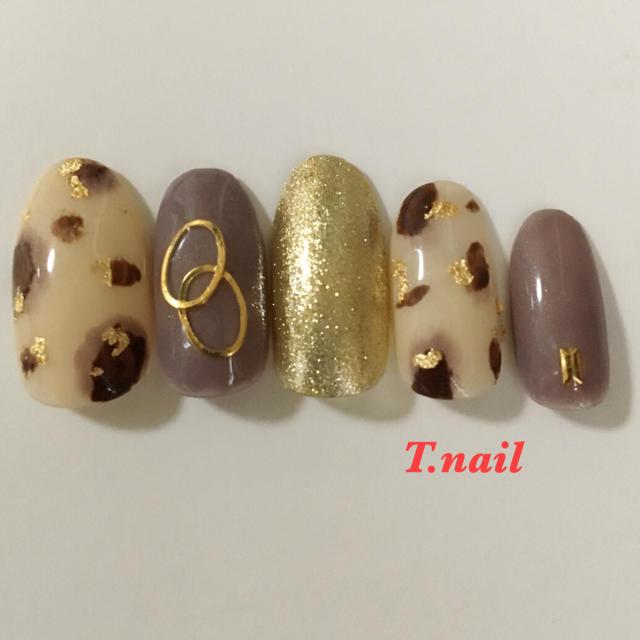 レオパードゴールドネイルチップ コスメ/美容のネイル(つけ爪/ネイルチップ)の商品写真