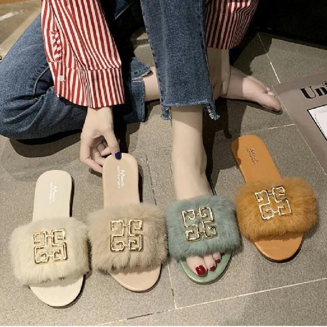 ZARA(ザラ)の【4color】マークポイント ファー フラット サンダル レディースの靴/シューズ(サンダル)の商品写真