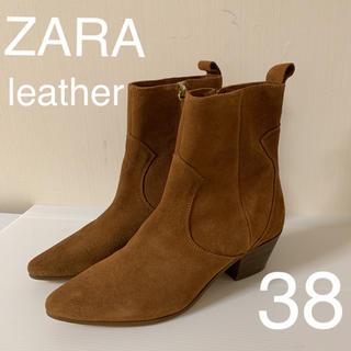 ザラ(ZARA)の新品タグ付  ZARA  ブラウン レザーショートブーツ 38(ブーツ)