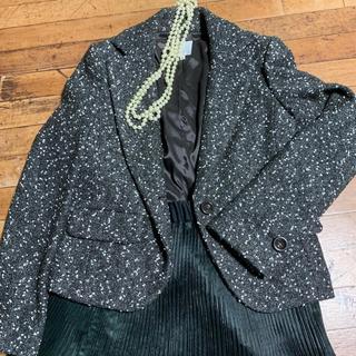 ブラーミン(BRAHMIN)の上品なラメ入りツイードジャケットチャコールグレー パーティーや結婚式、披露宴に。(テーラードジャケット)