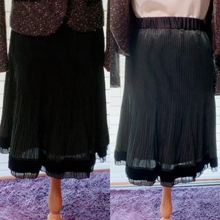 サテン地スカート華やかな黒の膝丈スカートパーティーや結婚式に(ひざ丈スカート)