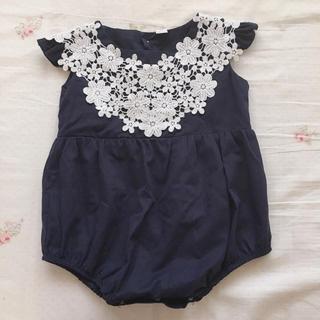 プティマイン(petit main)の花柄刺繍ロンパース 韓国子供服 海外子供服 プティマイン 女の子フォーマル(ドレス/フォーマル)