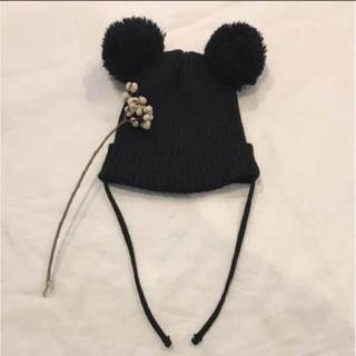 コドモビームス(こども ビームス)の美品  minirodini ニット帽 くまさん ポンポン ミッキー(帽子)