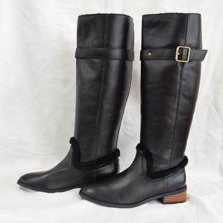 オズモーシス(OSMOSIS)のOSMOSIS レザーウール ロングブーツ ブラック 29190円⇒4500円(ブーツ)