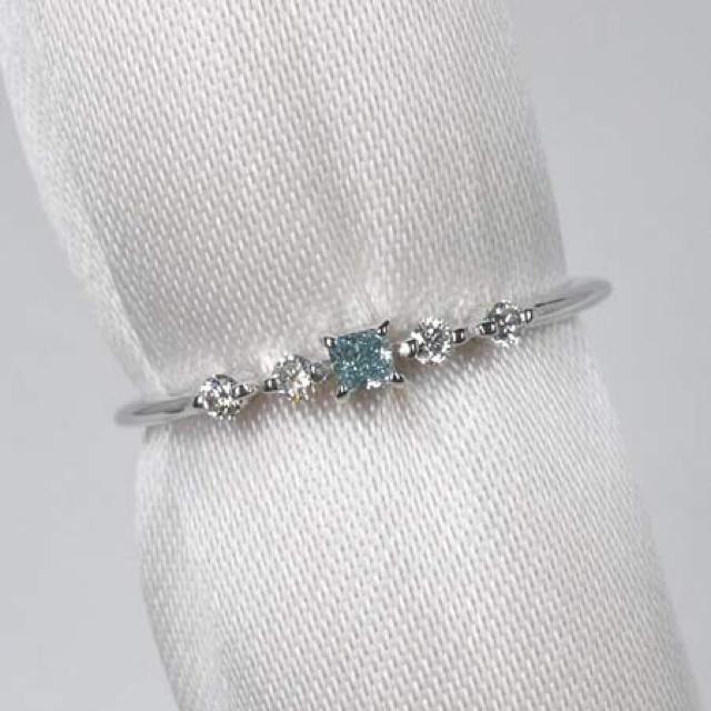 ブルーダイヤ fancy intense greenish blue VS1  レディースのアクセサリー(リング(指輪))の商品写真