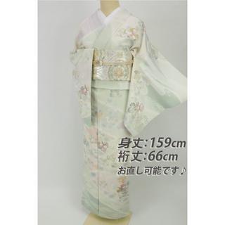 《丹後ちりめん■蔦に花々染分け訪問着■淡グリーン多色◆袷正絹着物◆HG8-6》(着物)