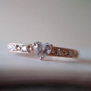 K18PG ハートシェイプ ダイヤモンド リング(リング(指輪))