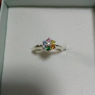 天然石 ☆サファイア&ガーネット☆ アミュレット☆ フラワーピンキーリング(リング(指輪))