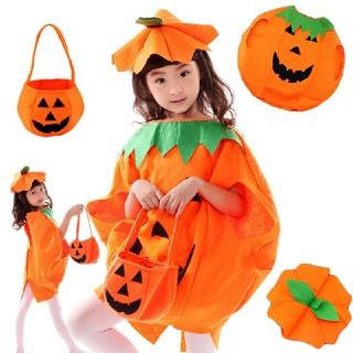 ☆大人気☆ハロウィン子供用パンプキン 衣装 帽子+バッグセット カボチャ(衣装一式)