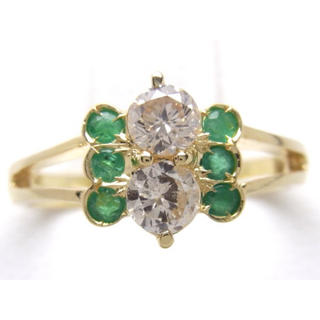 お値引き不可 K18 天然 エメラルド ダイヤモンド リング(リング(指輪))