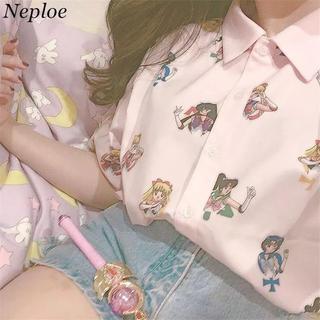 バブルス(Bubbles)のセーラームーン 柄シャツ ピンク(Tシャツ(半袖/袖なし))