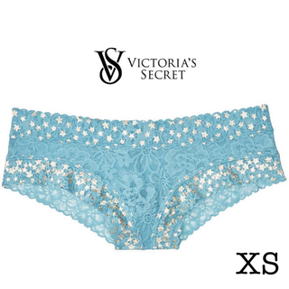 ヴィクトリアズシークレット(Victoria's Secret)のフローラルレース&シャインドットチーキー♡ブルーロマンス(ショーツ)