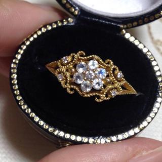 k18  ブルームーンストーンとダイヤモンドのアンティークデザインリング(リング(指輪))