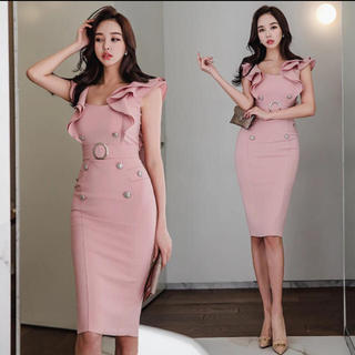 デイジーストア(dazzy store)のフリル ひざ丈ドレス(ミディアムドレス)