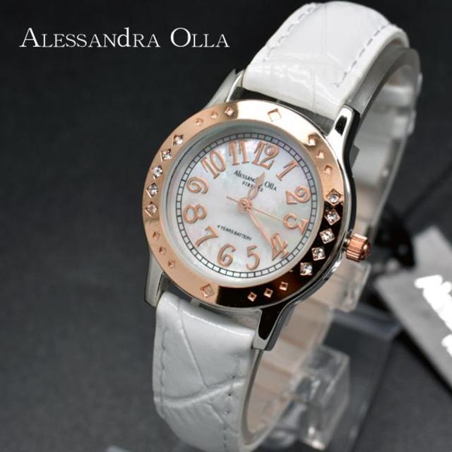 ALESSANdRA OLLA - アレッサンドラオーラ 腕時計 レディース シェル文字盤 ホワイト 白 時計の通販 by おもち's shop|アレッサンドラオーラならラクマ