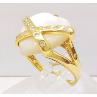 K18 天然シェル ダイヤ リング /指輪  鑑別書付(リング(指輪))