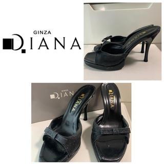 DIANA - ダイアナ ブラックレザー リボン ミュール