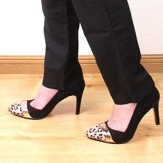【新品】ヒョウ柄パンプス ブラック 21.5cm~22cm (表記22.5cm)(ハイヒール/パンプス)