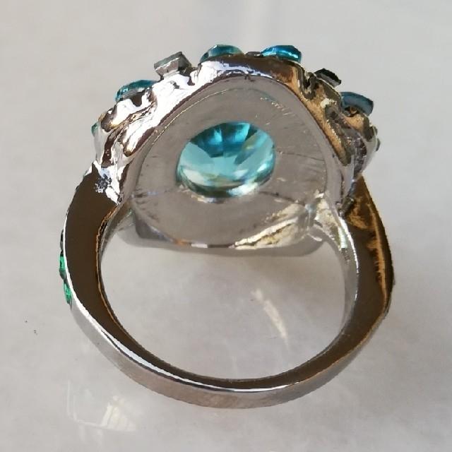 【新品】アクアマリンエメラルドジェムストーンリング12号~19号 レディースのアクセサリー(リング(指輪))の商品写真