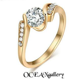 送料無料 16号 ゴールド クリア スーパーCZダイヤ ウェディング リング指輪(リング(指輪))