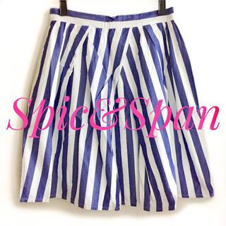スピックアンドスパン(Spick and Span)のSpic&Span  夏素材 白×青 ストライプ柄 変形 ミニ スカート(ミニスカート)