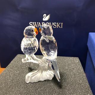 スワロフスキー(SWAROVSKI)のスワロフスキー    セキセイインコ  つがい  置物(ガラス)