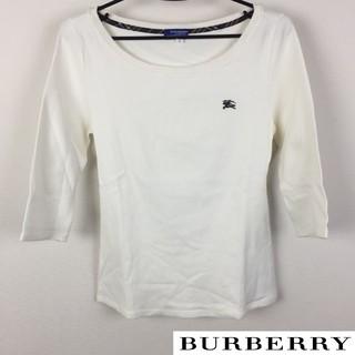 バーバリーブルーレーベル(BURBERRY BLUE LABEL)の美品 BURBERRY BLUE LABEL 7分袖Tシャツ ホワイト(Tシャツ(長袖/七分))