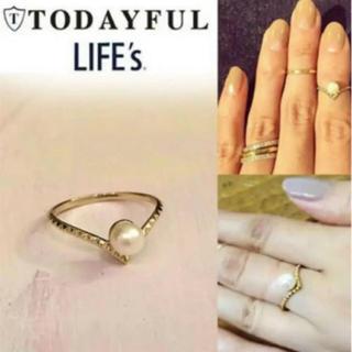 トゥデイフル(TODAYFUL)のTODAYFUL スタッズ&パールリング 華奢 ゴールド 指輪 パール 5号 秋(リング(指輪))