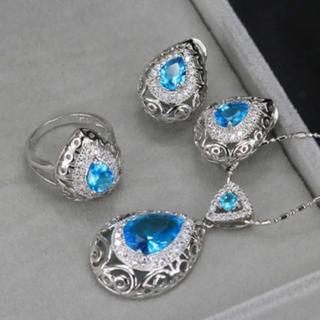 925スターリングシルバー  アクアマリンカラーストーン ジュエリーセット(リング(指輪))