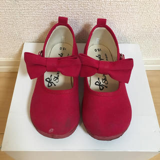 シャーリーテンプル(Shirley Temple)のシャーリーテンプル 赤リボンシューズ15cm(フォーマルシューズ)